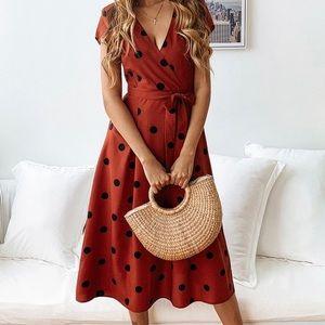 Rust Polka Dot Dress.